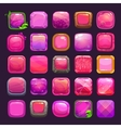 Funny cartoon pink square buttons collection vector image vector image