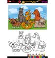 funny dogs cartoon coloring book vector image vector image