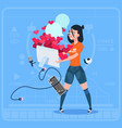 girl blogger hold computer with many likes modern vector image vector image