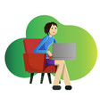 girl freelancer with laptop vector image vector image