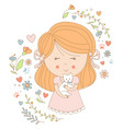girl holding a cat vector image