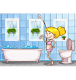 Girl standing in the bathroom vector image vector image