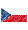 hand drawn national flag of czech republic vector image vector image