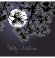 Handwritten words Merry Christmas moon and pine vector image