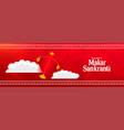 happy makar sankranti red festival banner design vector image vector image