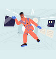 happy weightless male astronaut is floating inside vector image