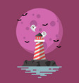 haunted lighthouse with moon on background vector image vector image
