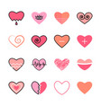 hearts flat and line icon pink color set vector image vector image