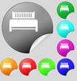 Hotel bed icon sign Set of eight multi colored vector image vector image
