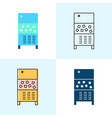 ice maker machine icon set in flat and line styles vector image vector image