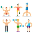 Men Fitness Cartoon Icons Collection vector image