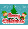 Merry Christmas poster with elf and present vector image vector image