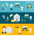 Museum icons banner vector image vector image