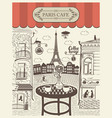 parisian street cafe with view eiffel tower vector image
