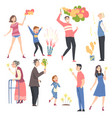 people various ages launching fireworks set vector image vector image