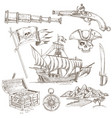 pirate elements hand drawn set vector image vector image
