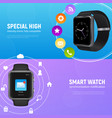 realistic smart watch banner set vector image