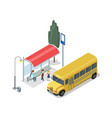 school bus stop isometric 3d icon vector image vector image
