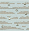 seamless pattern with islands and old sailboats vector image