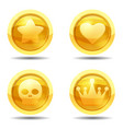 set game coin with star heart scull crown game vector image vector image