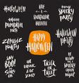 set halloween hand drawn brush calligraphy vector image vector image