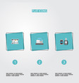 set of banking icons flat style symbols with atm vector image