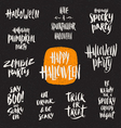 Set of Halloween hand drawn brush calligraphy vector image vector image