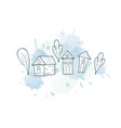 set of houses trees with splash vector image