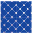set of seamless patterns - blue and white ceramic vector image
