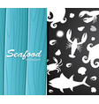 silhouette seafood on restaurant banner vector image