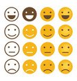 smile emotions icons simple flat round faces vector image