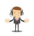 smiling male operator with headset speaking vector image vector image