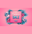 summer sale poster with tropic leaves vector image vector image