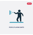 two color people playing darts icon from vector image vector image