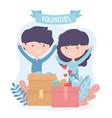 volunteering help charity boy and girl volunteers vector image