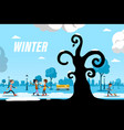 winter day in city park with people and tree vector image vector image
