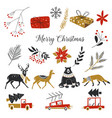 winter icons set new year and christmas vector image