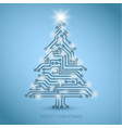 christmas tree from digital electronic circuit vector image