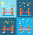 Flat design of Golden gate vector image