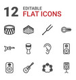 12 acoustic icons vector image vector image