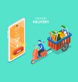 3d isometric flat concept grocery vector image vector image