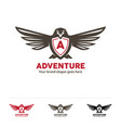 adventure fly logo bird symbol with letter in the vector image vector image