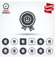 Award smile icon Happy face symbol vector image vector image