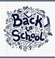 back to school circle composition on plaid vector image vector image