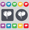 balloon Icon sign A set of 12 colored buttons Flat vector image vector image