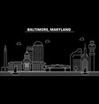 baltimore silhouette skyline usa - baltimore vector image vector image