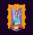 catrina skull day of the dead party vector image vector image
