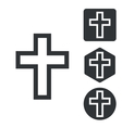 Christian cross icon set monochrome vector image vector image