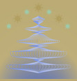 christmas tree in frost and falling snowflakes vector image