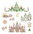Christmas trees gifts vector image vector image